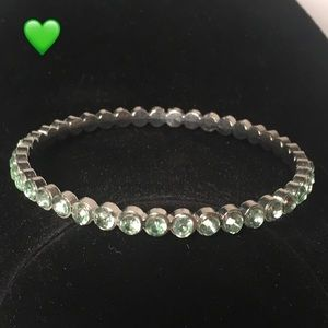 Silver with green crystal bracelet